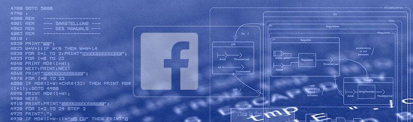 Logo di Facebook su sfondo blu che rappresenta codice di programmazione