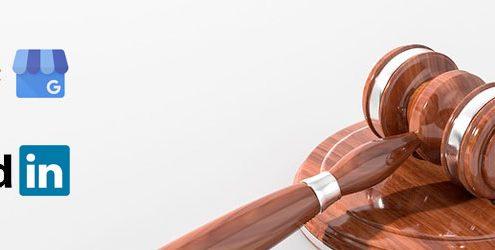 Martelleto da avvocato con logo di Google My Business e Logo di Linkedin sullo sfondo