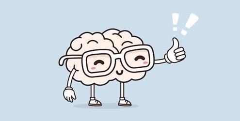 Illustrazione di un cervello con gli occhiali