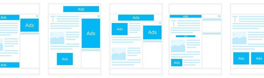 Layout di siti web con spazi per pubblicità o ads Pay per Click