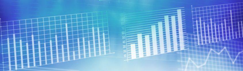 Grafici di statistica e analisi su sfondo azzurro