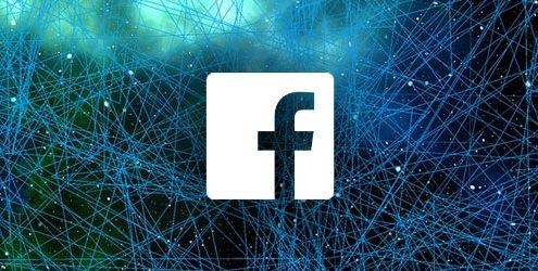 Logo di facebook bianco su sfondo digitale Blu