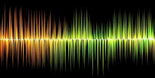 Onde sonore colorate su sfondo nero