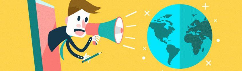 vignetta uomo con megafono, comunicazione efficace