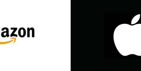 Logo di Amazon su sfondo bianco e Logo di Apple su sfondo nero