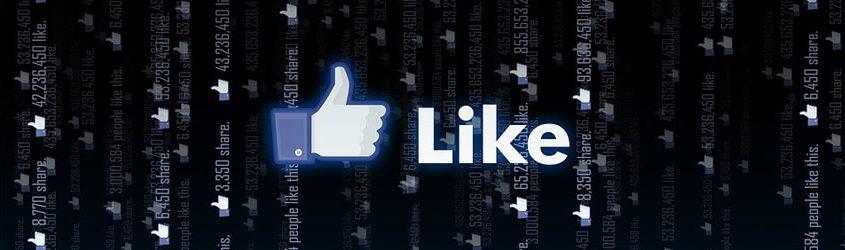 Mano e Marchio Like di Facebook su sfondo nero con lo stesso logo ripetuto