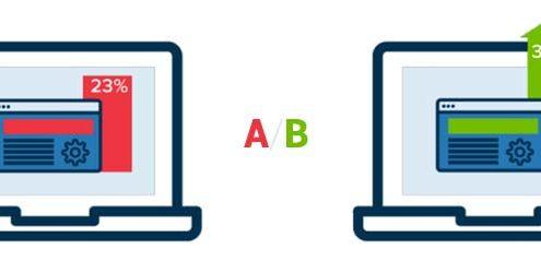 Ottimizzare con gli A/B Test: Illustrazione di due schermi che mostrano un A/B test
