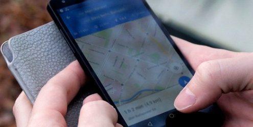 mani che reggono smartphone con aperto Google Maps su sfondo di foglie autunnali
