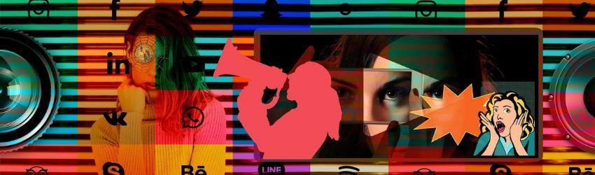 filtri colorati che coprono un obiettivo, una ragazza, una sagoma di ragazza con megafono e occhi di donna dentro lo schermo di uno smartphone; tutto intorno loghi di Social network e piattaforme web