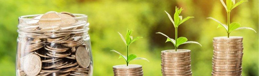 Fondo Nazionale Innovazione: vasetto di vetro pieno di monete vicino a tre pile di monete di differenti altezze che germogliano su sfondo di un giardino