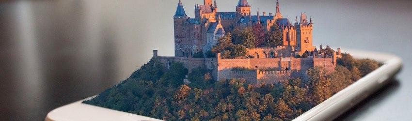 smartphone pieghevoli: castello che fuoriesce in 3d da uno schermo di smartphone