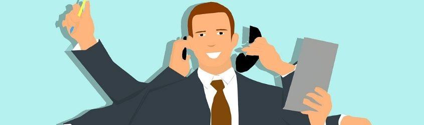 funnel: illustrazione di uomo d'affari multitasking con molte braccia