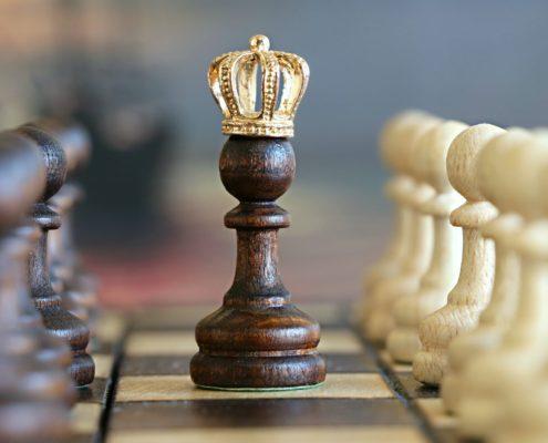 scacchiera con pedina vincitrice